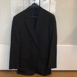 Blue Patterned Charcoal Jos A Bank Suit Jacket